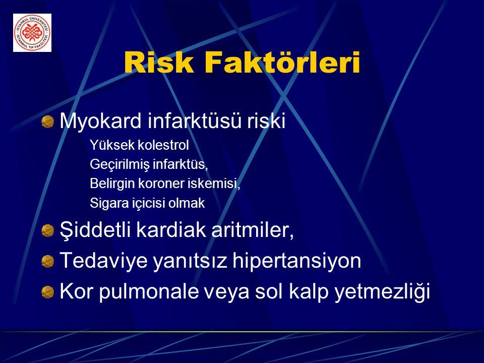 Risk Faktörleri Myokard infarktüsü riski Şiddetli kardiak aritmiler,