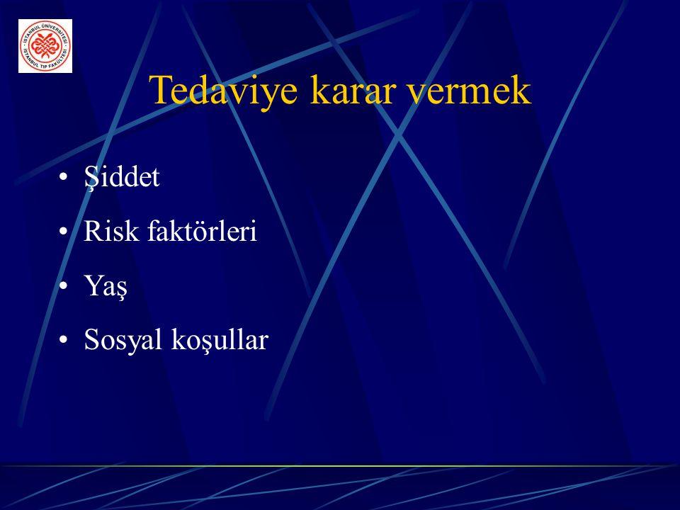 Tedaviye karar vermek Şiddet Risk faktörleri Yaş Sosyal koşullar