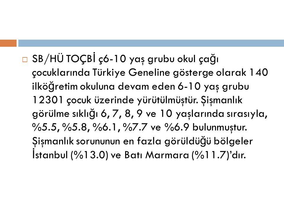 SB/HÜ TOÇBİ ç6-10 yaş grubu okul çağı çocuklarında Türkiye Geneline gösterge olarak 140 ilköğretim okuluna devam eden 6-10 yaş grubu 12301 çocuk üzerinde yürütülmüştür.