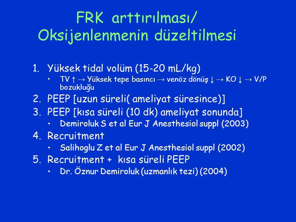 FRK arttırılması/ Oksijenlenmenin düzeltilmesi