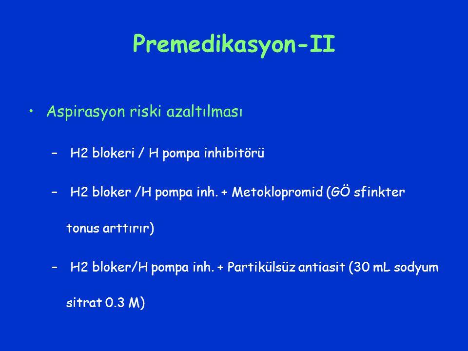 Premedikasyon-II Aspirasyon riski azaltılması