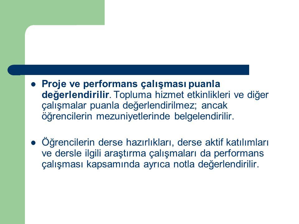Proje ve performans çalışması puanla değerlendirilir