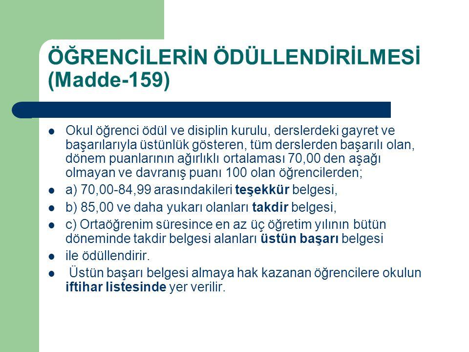 ÖĞRENCİLERİN ÖDÜLLENDİRİLMESİ (Madde-159)