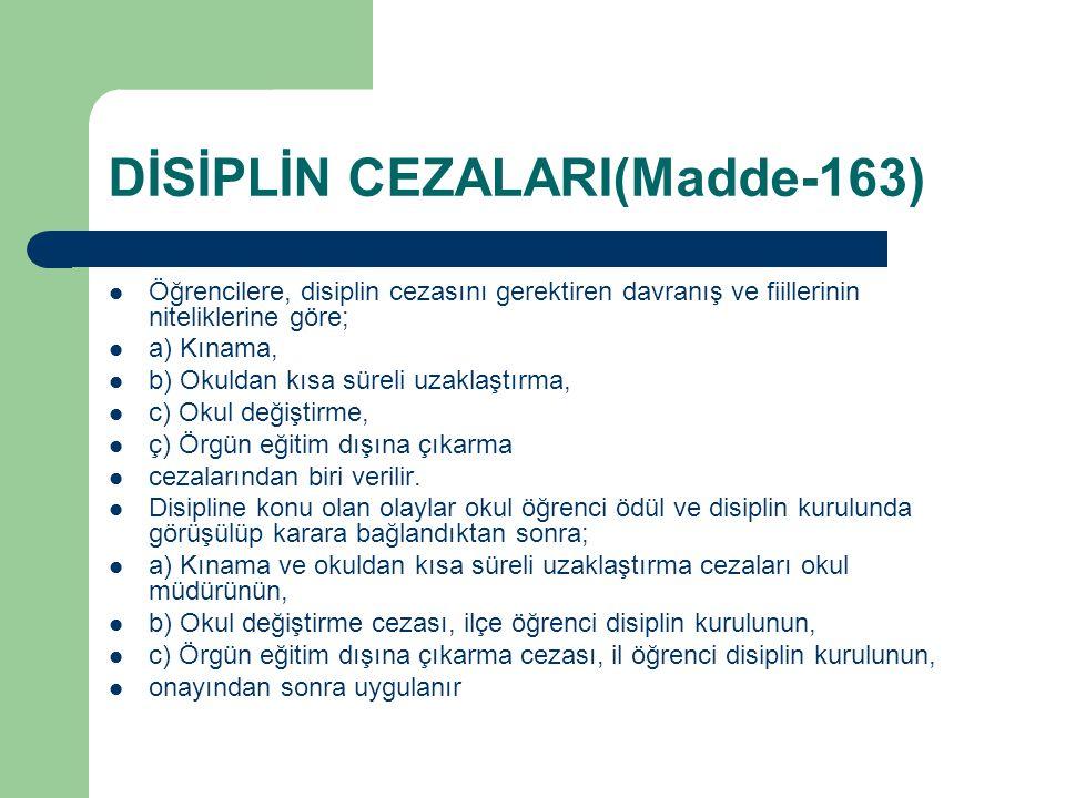 DİSİPLİN CEZALARI(Madde-163)