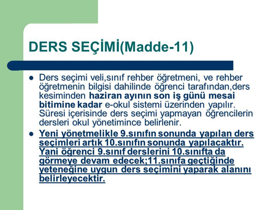 DERS SEÇİMİ(Madde-11)