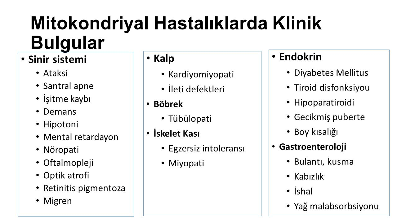 Mitokondriyal Hastalıklarda Klinik Bulgular