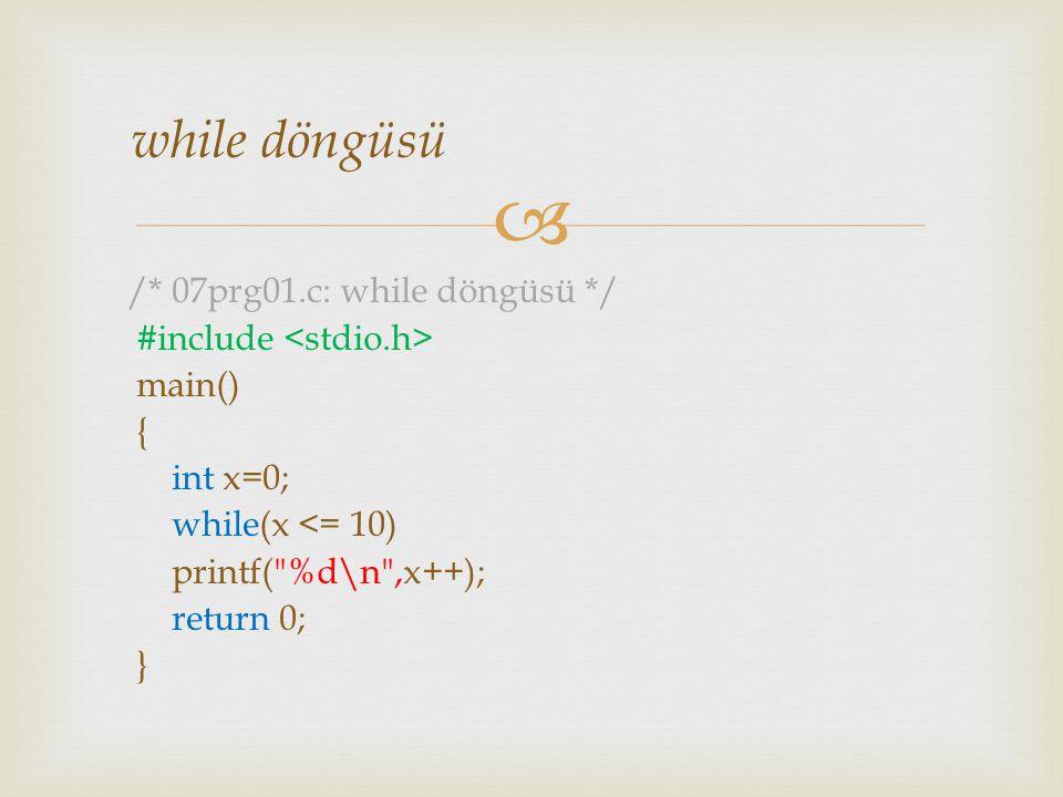 while döngüsü /* 07prg01.c: while döngüsü */ #include <stdio.h>