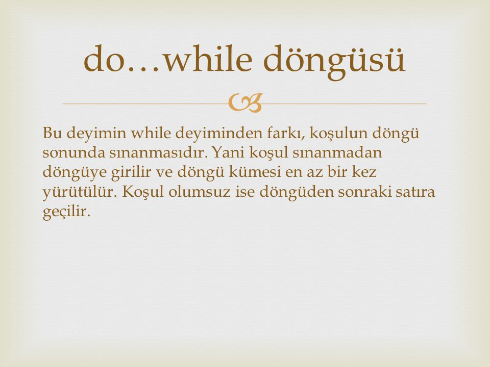 do…while döngüsü