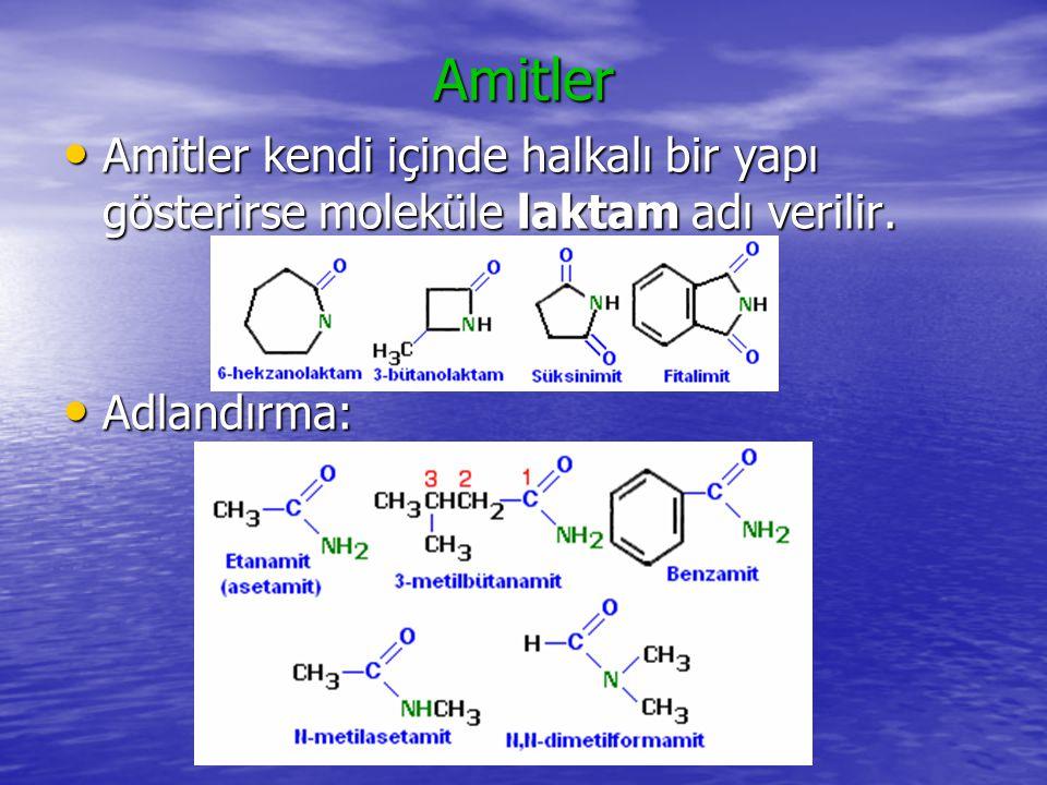 Amitler Amitler kendi içinde halkalı bir yapı gösterirse moleküle laktam adı verilir. Adlandırma: