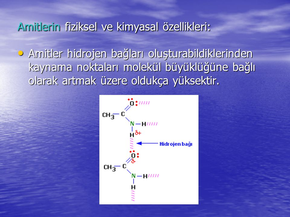 Amitlerin fiziksel ve kimyasal özellikleri: