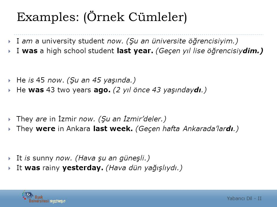 Examples: (Örnek Cümleler)