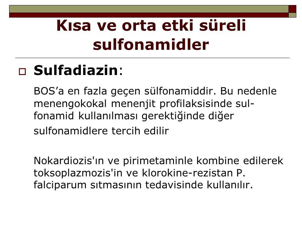 Kısa ve orta etki süreli sulfonamidler