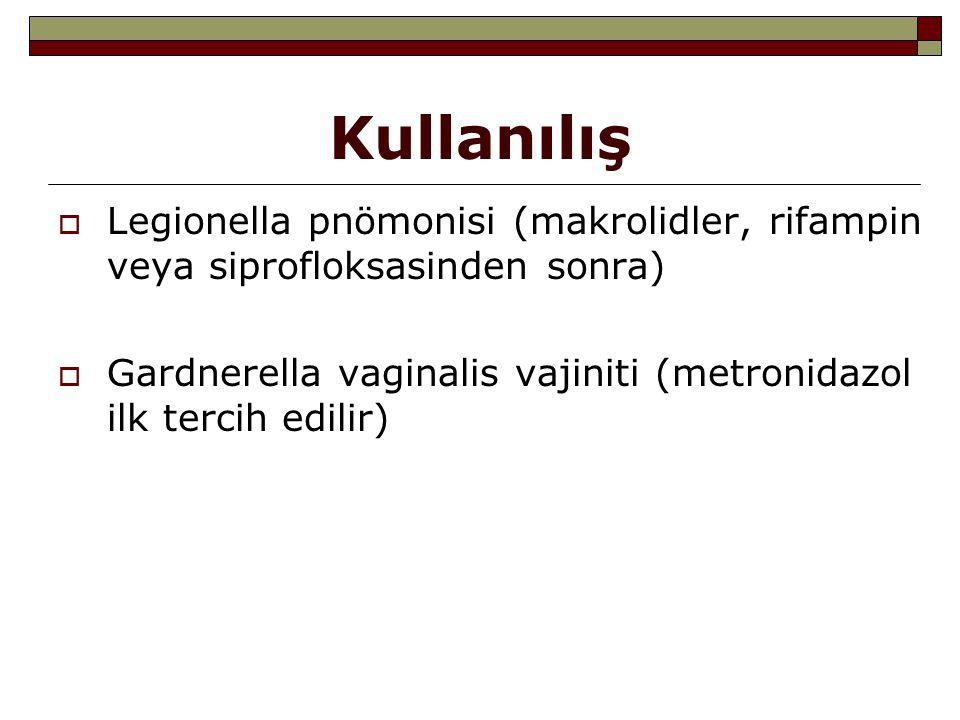 Kullanılış Legionella pnömonisi (makrolidler, rifampin veya siprofloksasinden sonra) Gardnerella vaginalis vajiniti (metronidazol ilk tercih edilir)