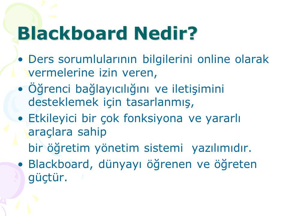 Blackboard Nedir Ders sorumlularının bilgilerini online olarak vermelerine izin veren,