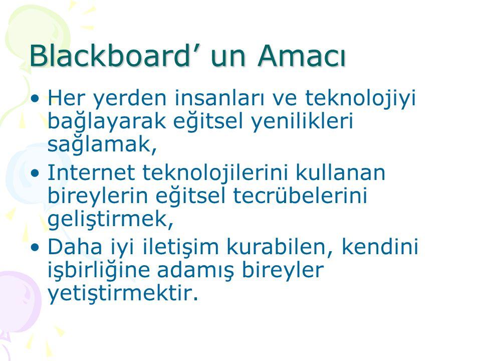 Blackboard' un Amacı Her yerden insanları ve teknolojiyi bağlayarak eğitsel yenilikleri sağlamak,
