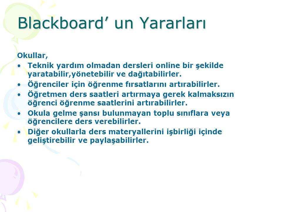 Blackboard' un Yararları