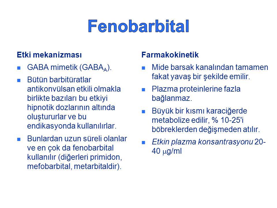 Fenobarbital Etki mekanizması GABA mimetik (GABAA).