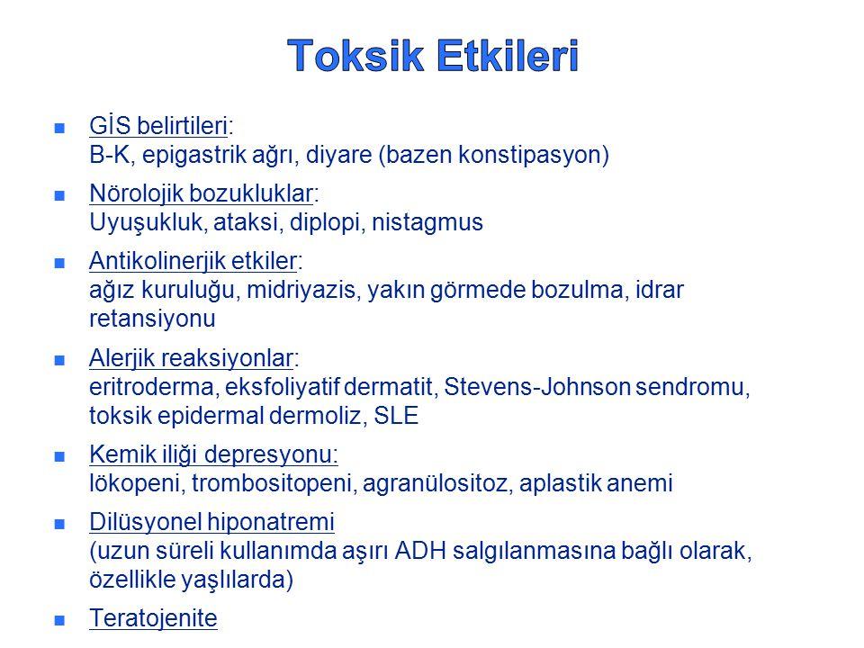 Toksik Etkileri GİS belirtileri: B-K, epigastrik ağrı, diyare (bazen konstipasyon) Nörolojik bozukluklar: Uyuşukluk, ataksi, diplopi, nistagmus.