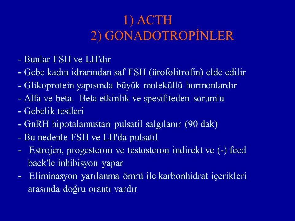1) ACTH 2) GONADOTROPİNLER