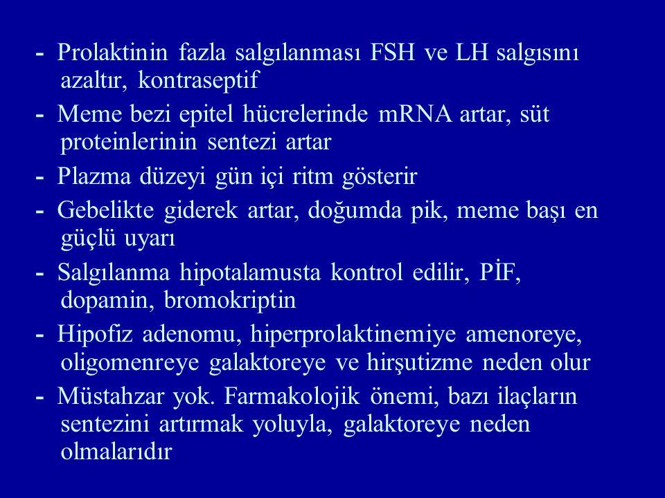 - Prolaktinin fazla salgılanması FSH ve LH salgısını azaltır, kontraseptif