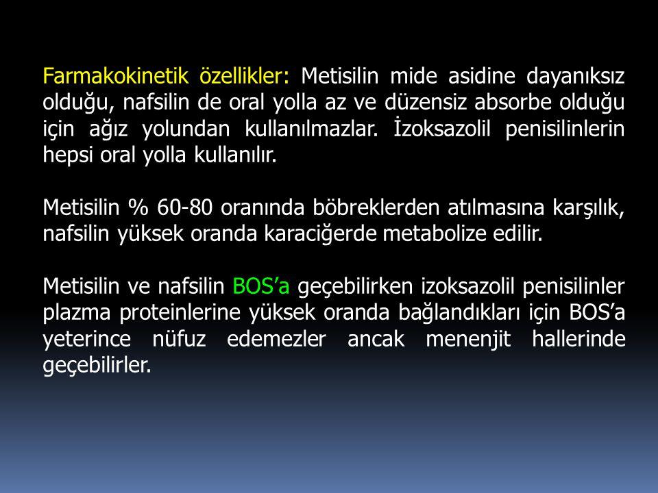 Farmakokinetik özellikler: Metisilin mide asidine dayanıksız olduğu, nafsilin de oral yolla az ve düzensiz absorbe olduğu için ağız yolundan kullanılmazlar. İzoksazolil penisilinlerin hepsi oral yolla kullanılır.
