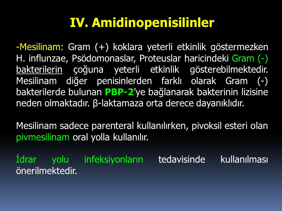 IV. Amidinopenisilinler