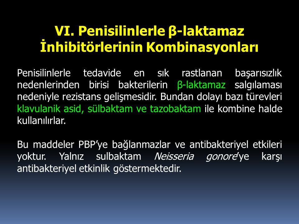 VI. Penisilinlerle β-laktamaz İnhibitörlerinin Kombinasyonları