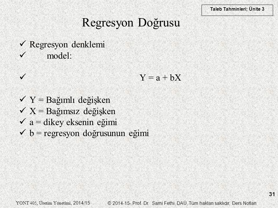 Regresyon Doğrusu Regresyon denklemi model: Y = a + bX
