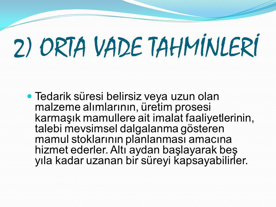 2) ORTA VADE TAHMİNLERİ