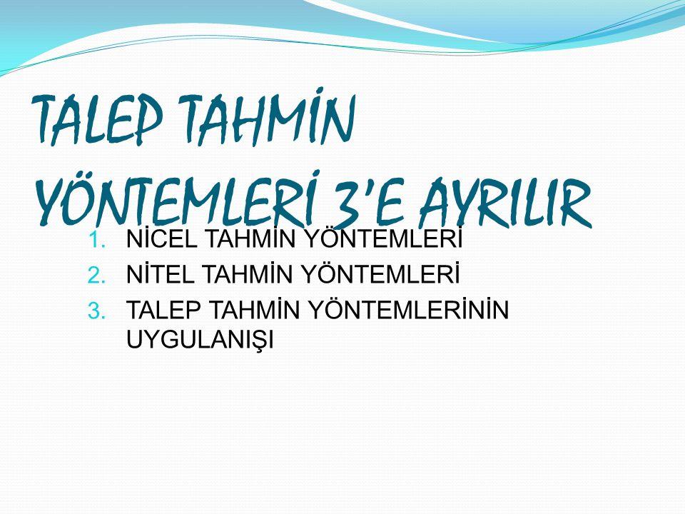 TALEP TAHMİN YÖNTEMLERİ 3'E AYRILIR