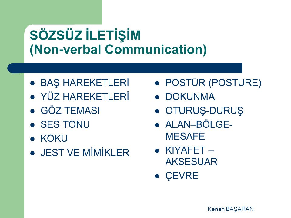 SÖZSÜZ İLETİŞİM (Non-verbal Communication)