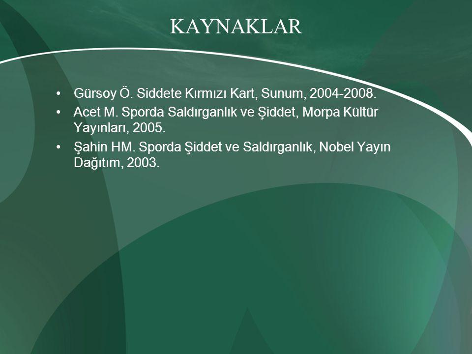 KAYNAKLAR Gürsoy Ö. Siddete Kırmızı Kart, Sunum, 2004-2008.