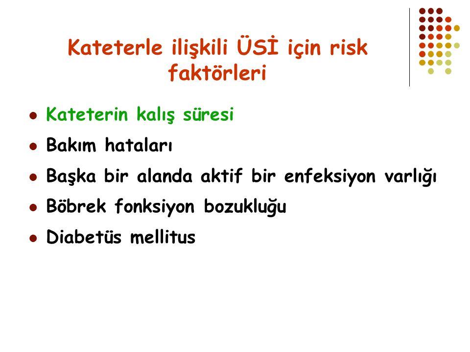 Kateterle ilişkili ÜSİ için risk faktörleri