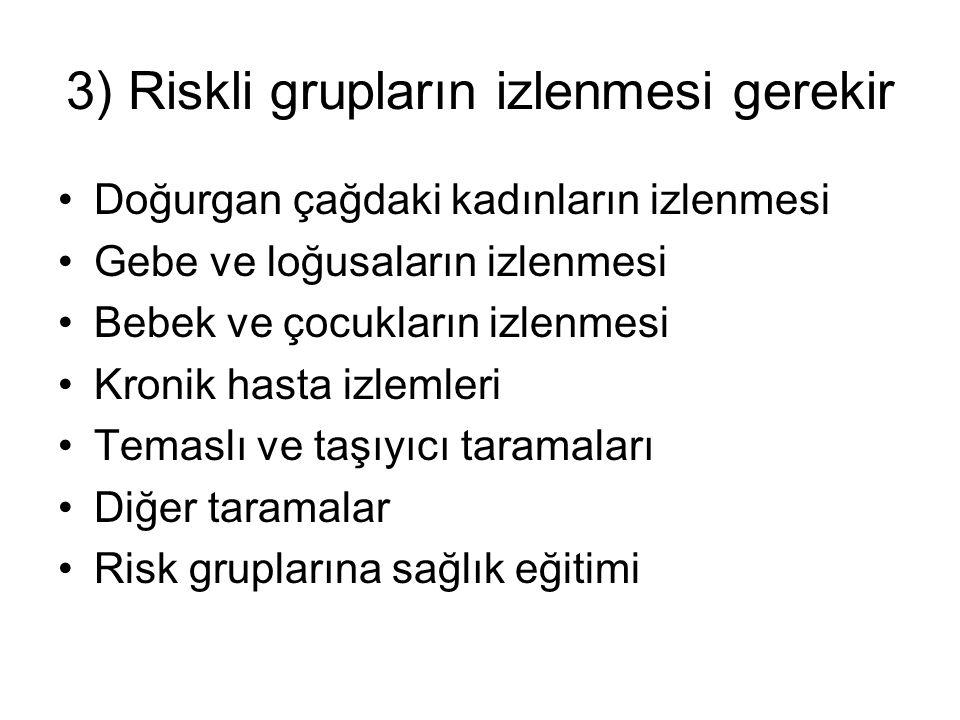 3) Riskli grupların izlenmesi gerekir