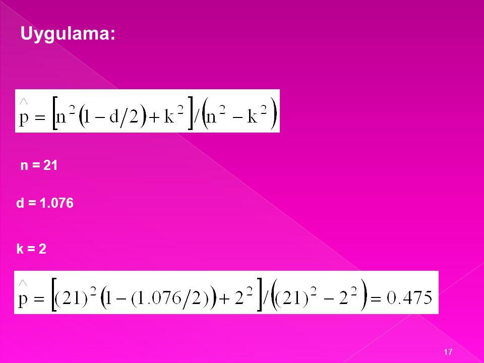 Uygulama: n = 21 d = 1.076 k = 2