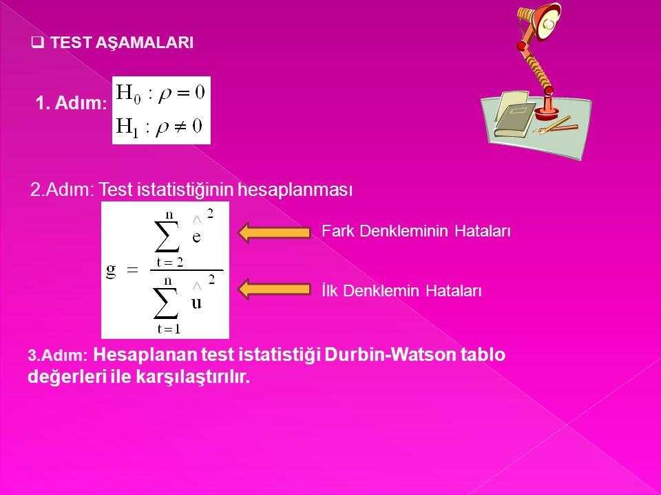 2.Adım: Test istatistiğinin hesaplanması