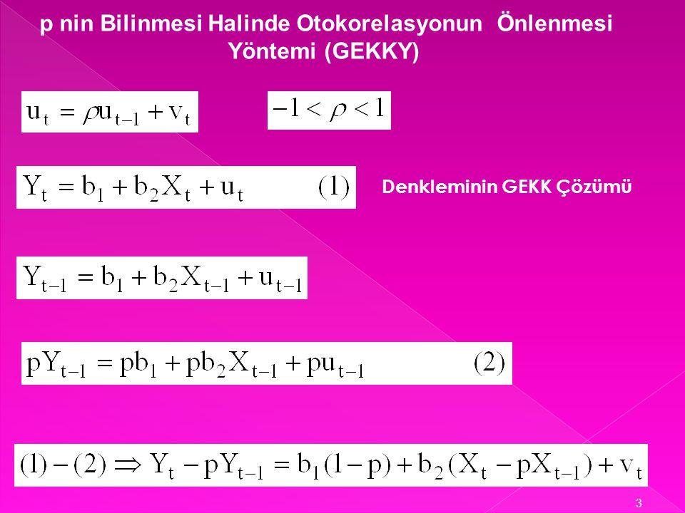 p nin Bilinmesi Halinde Otokorelasyonun Önlenmesi Yöntemi (GEKKY)