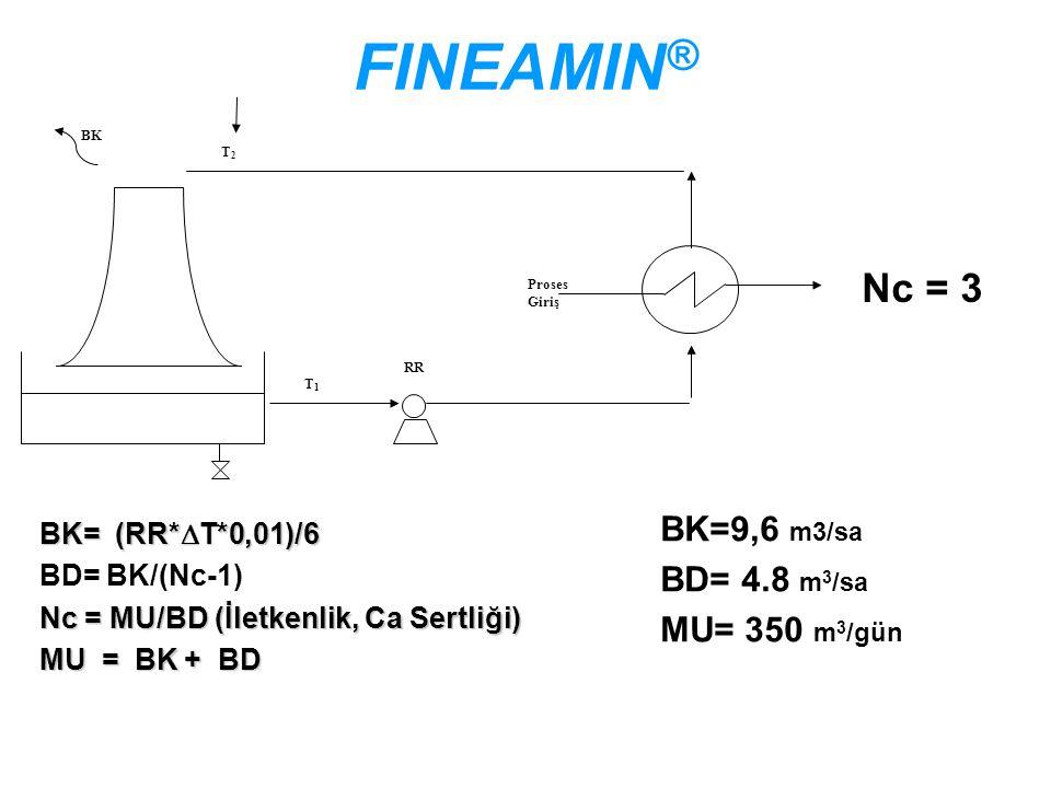 FINEAMIN® Nc = 3 BK=9,6 m3/sa BD= 4.8 m3/sa MU= 350 m3/gün