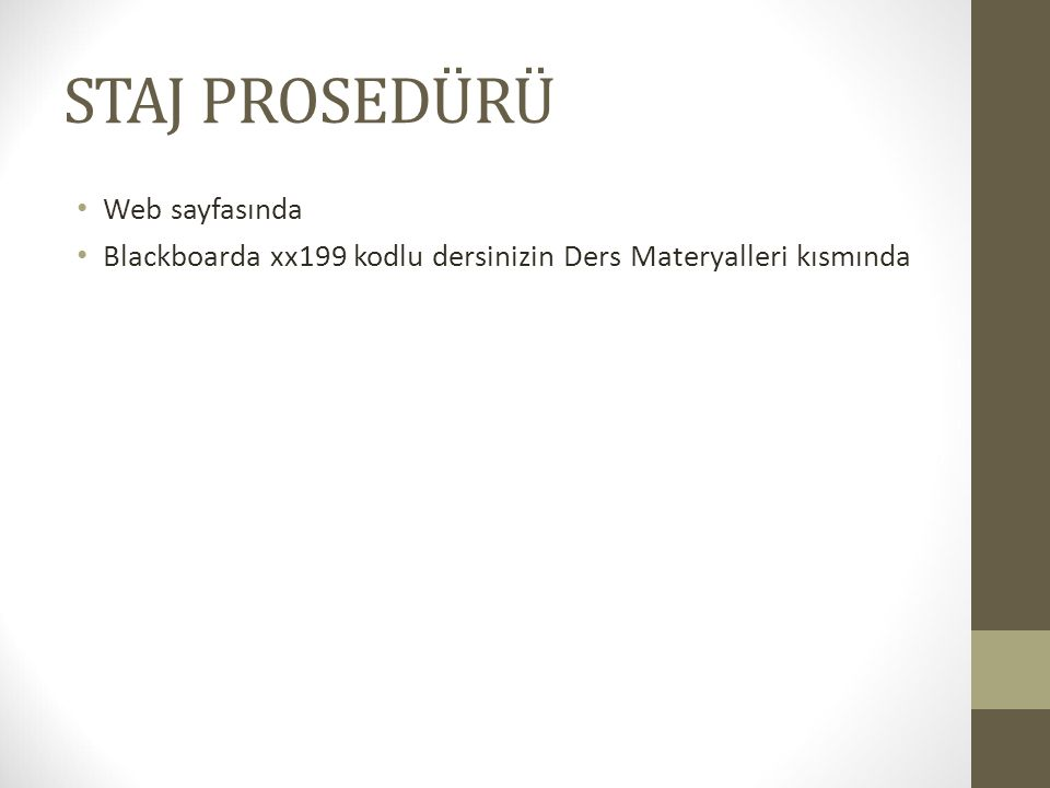 STAJ PROSEDÜRÜ Web sayfasında