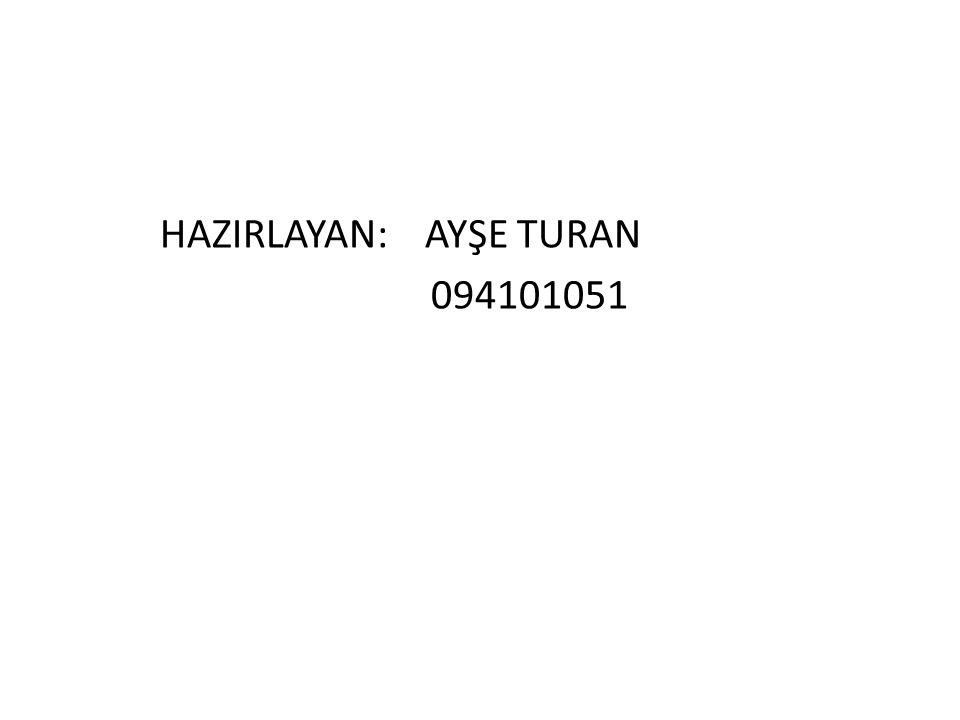 HAZIRLAYAN: AYŞE TURAN 094101051