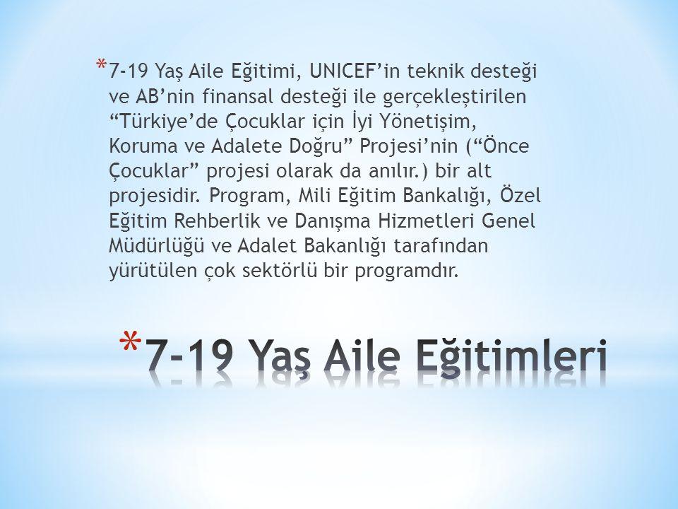 7-19 Yaş Aile Eğitimi, UNICEF'in teknik desteği ve AB'nin finansal desteği ile gerçekleştirilen Türkiye'de Çocuklar için İyi Yönetişim, Koruma ve Adalete Doğru Projesi'nin ( Önce Çocuklar projesi olarak da anılır.) bir alt projesidir. Program, Mili Eğitim Bankalığı, Özel Eğitim Rehberlik ve Danışma Hizmetleri Genel Müdürlüğü ve Adalet Bakanlığı tarafından yürütülen çok sektörlü bir programdır.