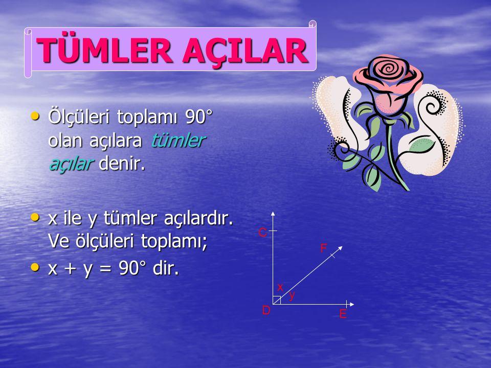 TÜMLER AÇILAR Ölçüleri toplamı 90° olan açılara tümler açılar denir.