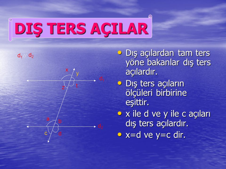 DIŞ TERS AÇILAR Dış açılardan tam ters yöne bakanlar dış ters açılardır. Dış ters açıların ölçüleri birbirine eşittir.
