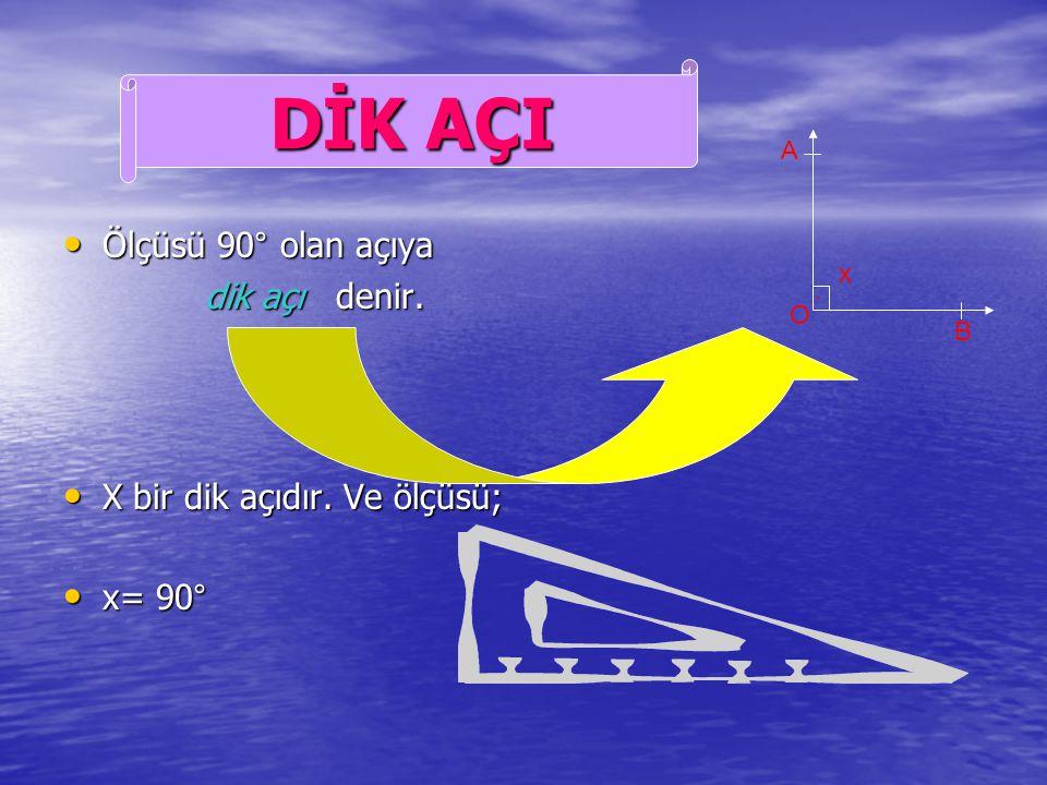 DİK AÇI Ölçüsü 90° olan açıya dik açı denir.