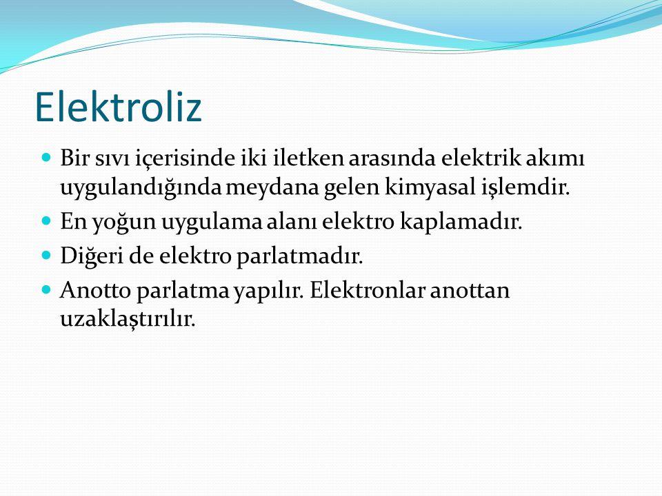 Elektroliz Bir sıvı içerisinde iki iletken arasında elektrik akımı uygulandığında meydana gelen kimyasal işlemdir.