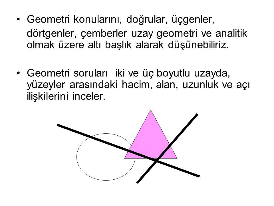 Geometri konularını, doğrular, üçgenler,