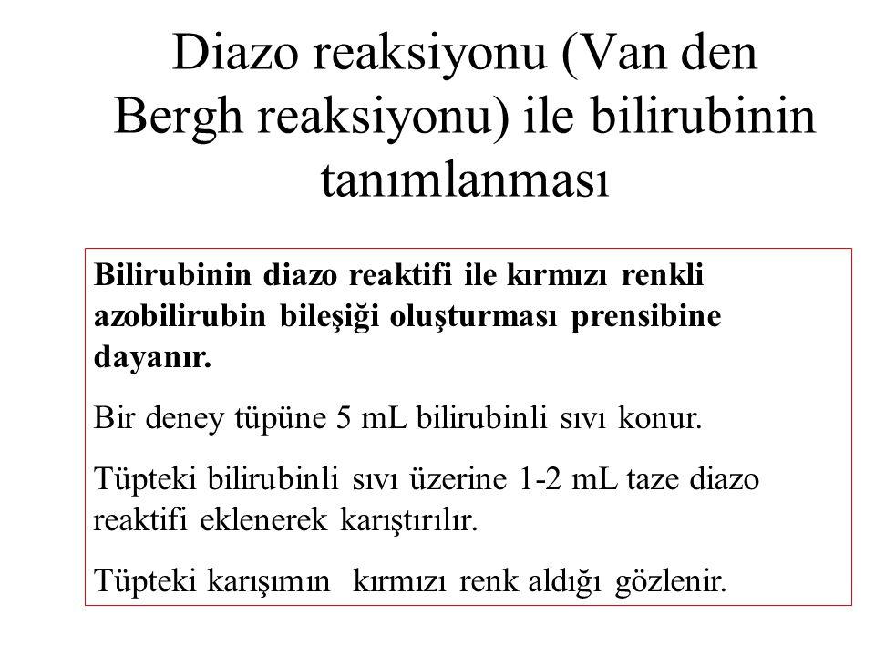 Diazo reaksiyonu (Van den Bergh reaksiyonu) ile bilirubinin tanımlanması