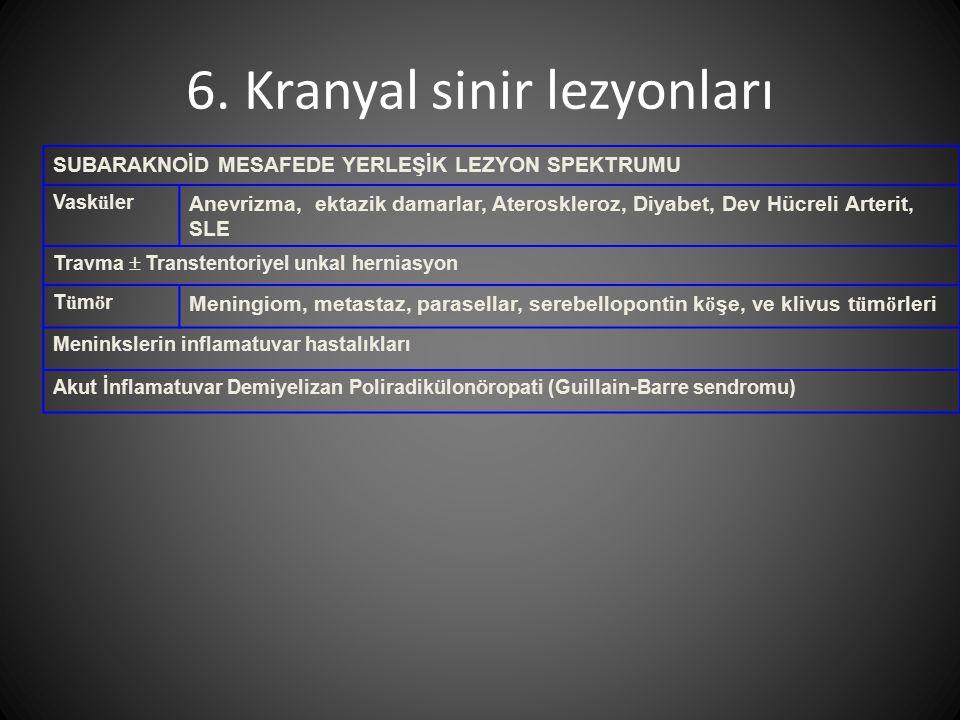 6. Kranyal sinir lezyonları