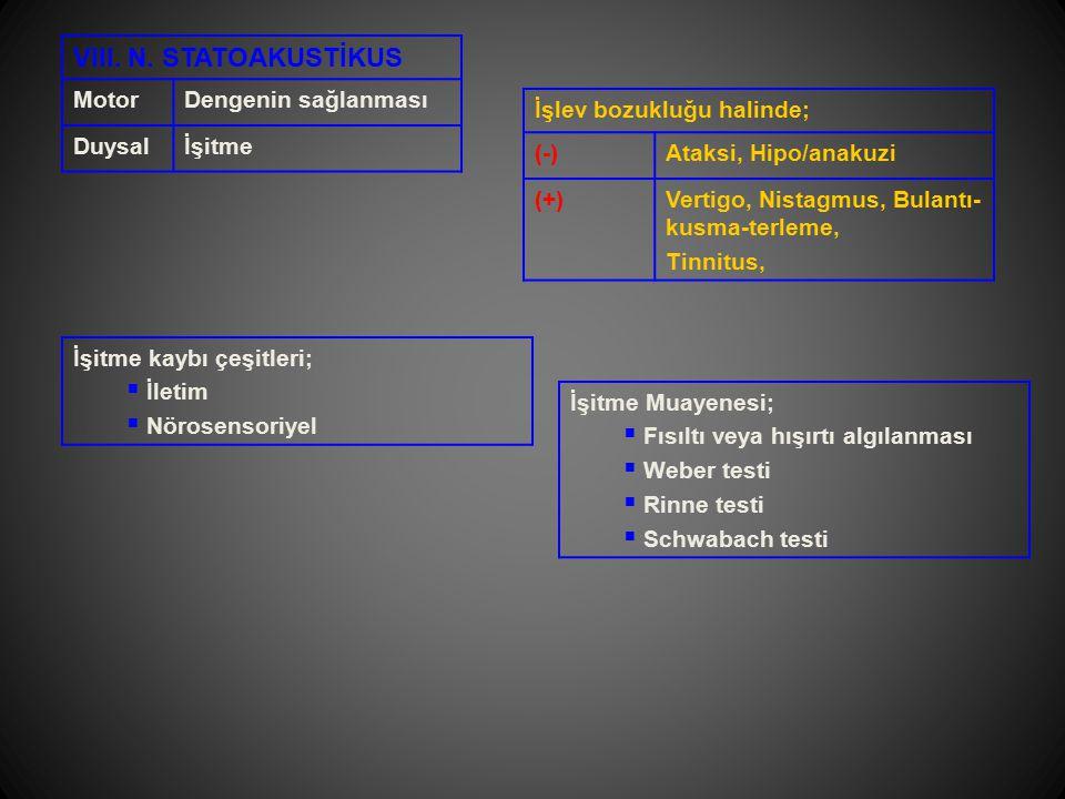 VIII. N. STATOAKUSTİKUS Motor Dengenin sağlanması Duysal İşitme
