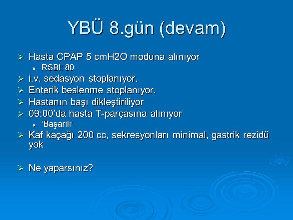 YBÜ 8.gün (devam) Hasta CPAP 5 cmH2O moduna alınıyor